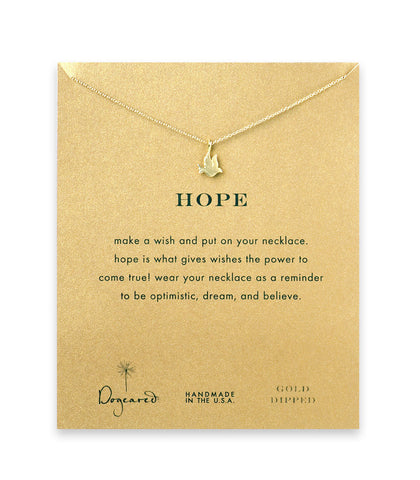 Dogeared Hope Dove Necklace, Gold Dipped 16 inch