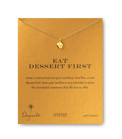 Dogeared Eat Dessert First Cupcake Necklace, Gold Dipped 16 inch