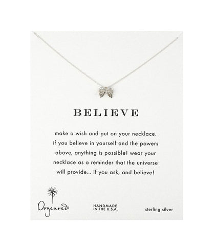 Dogeared Believe Wings Necklace, Sterling Silver 16 inch