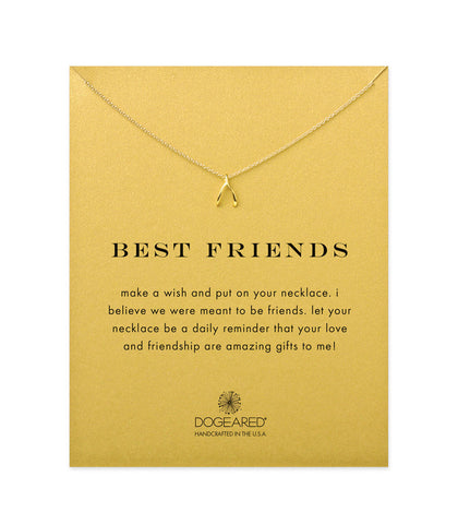 Dogeared Best Friends Wishbone Necklace, Gold Dipped 16 inch
