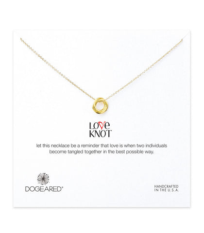 Dogeared Love Knot Necklace, Gold Dipped 18 inch