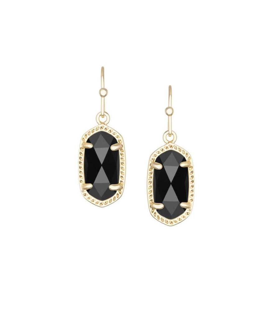 Kendra Scott Lee Gold Earrings in Black Opaque Glass 14K Gold Plated