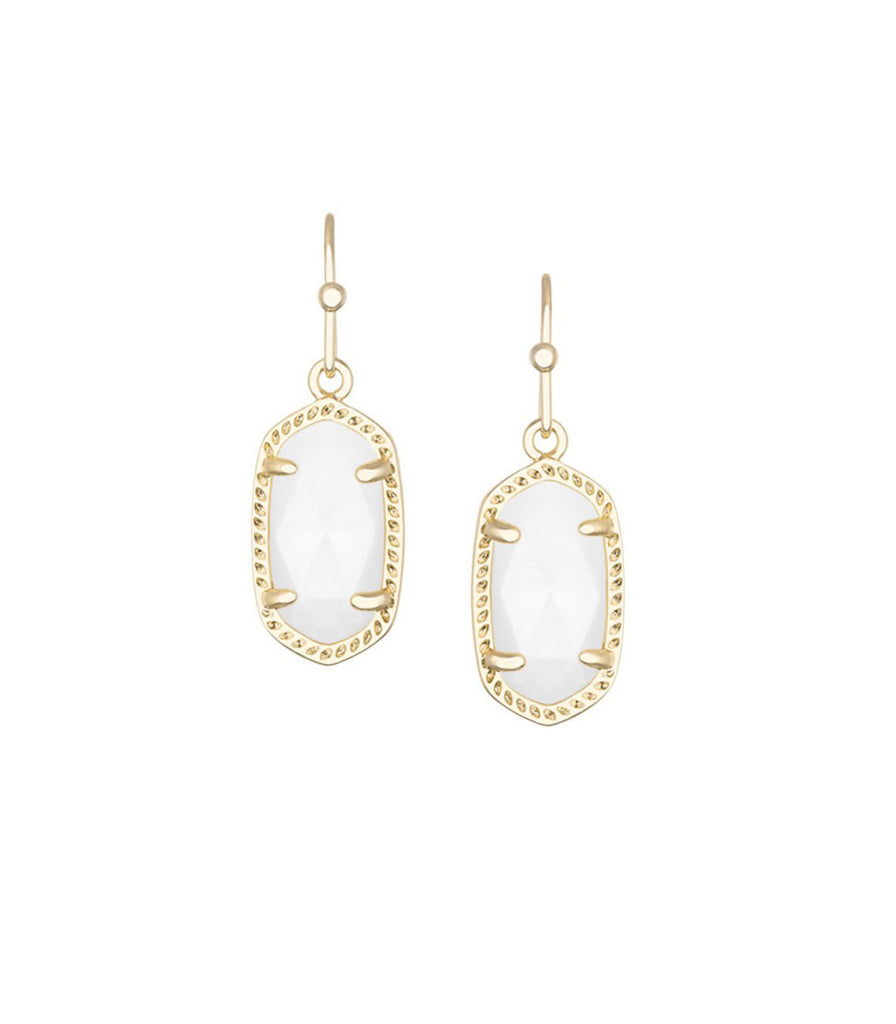 Kendra Scott Lee Gold Earrings in White Mother of Pearl 14K Gold Plated