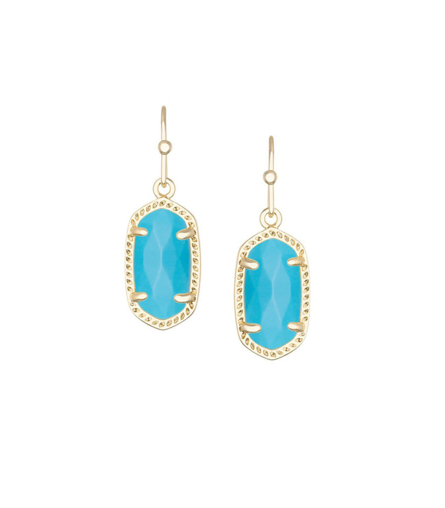 Kendra Scott Lee Gold Earrings in Turquoise Magnesite 14K Gold Plated