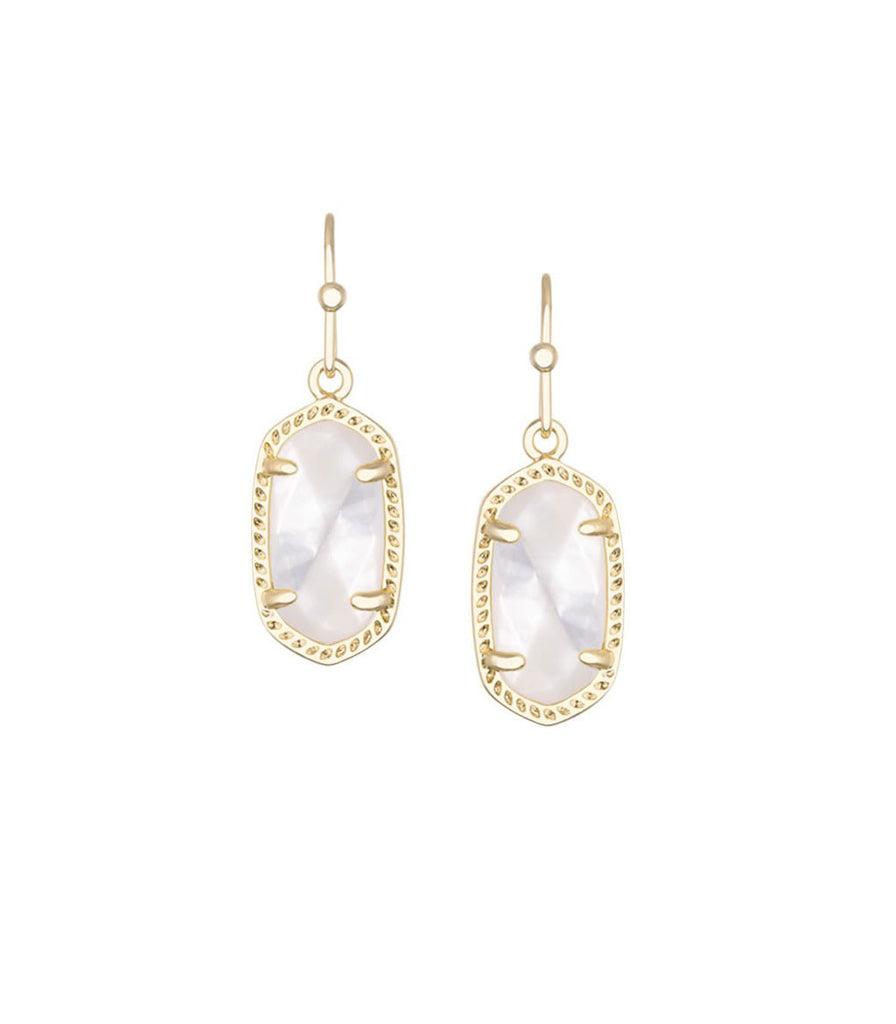Kendra Scott Lee Gold Earrings in Ivory Mother of Pearl 14K Gold Plated