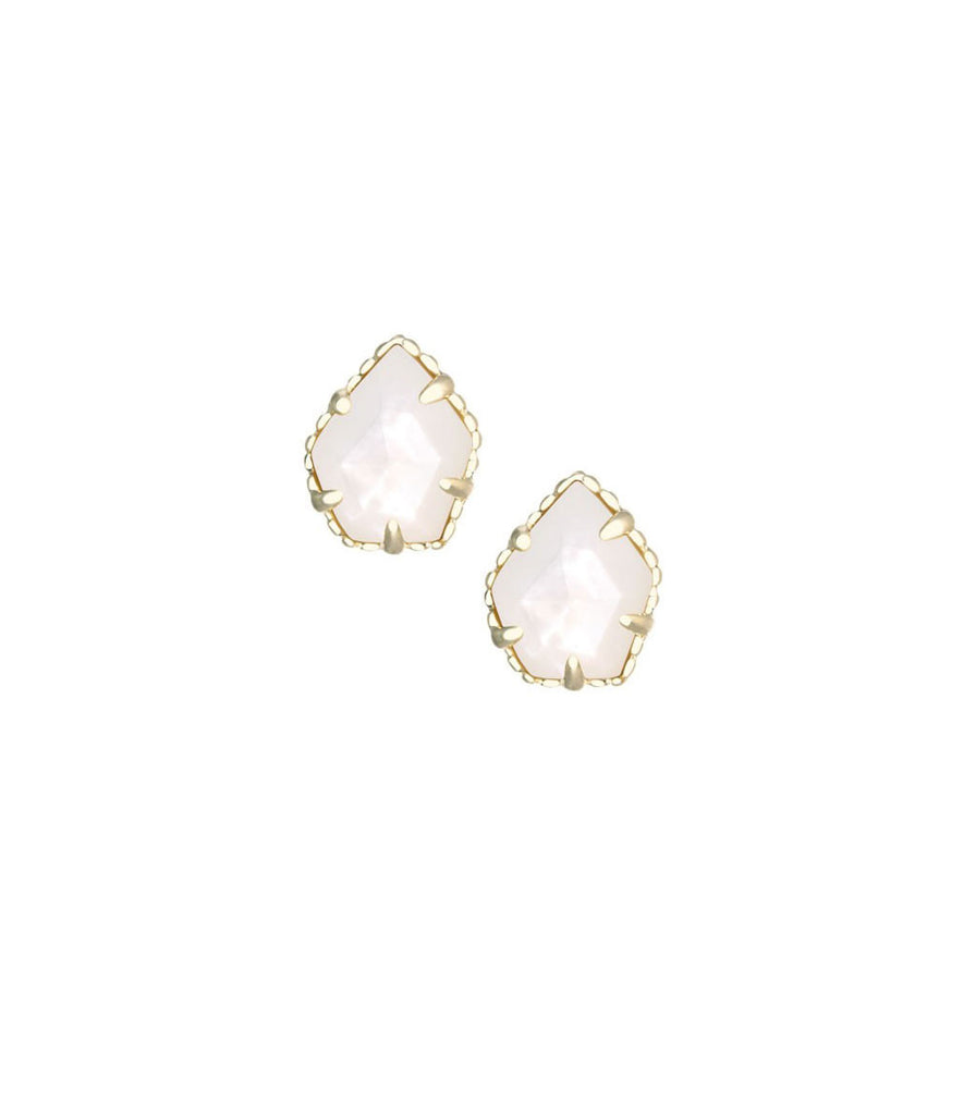 Kendra Scott Tessa Stud Earrings in Ivory Mother of Pearl 14K Gold Plated
