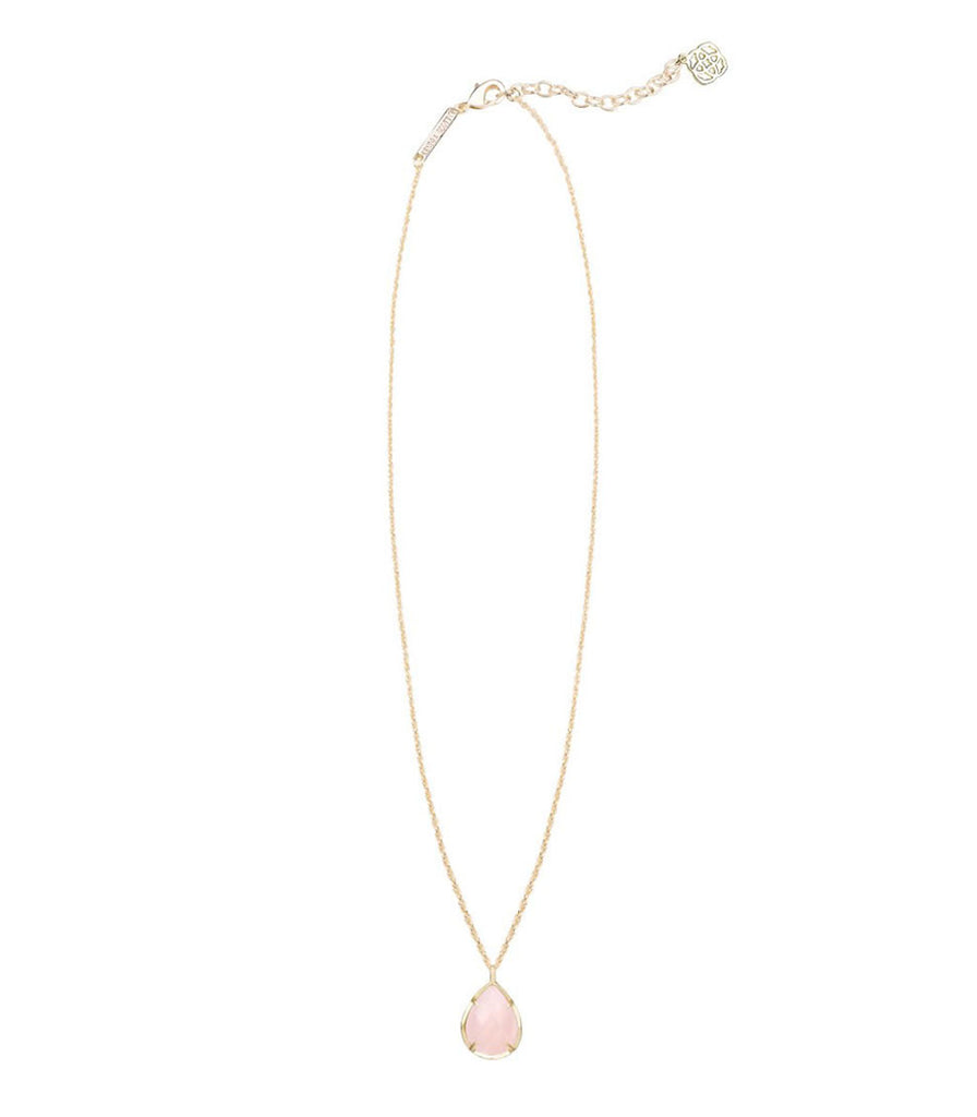Kendra Scott Kiri Gold Pendant Necklace in Rose Quartz 15 inch w/ 2 inch extender