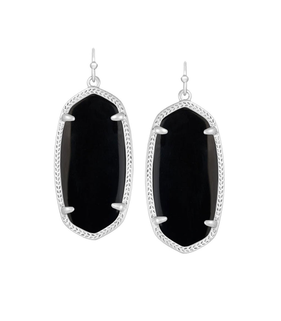Kendra Scott Elle Black Opaque Glass Earrings Silver