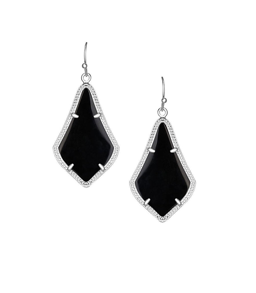 Kendra Scott Alex Black Opaque Glass Earrings Silver