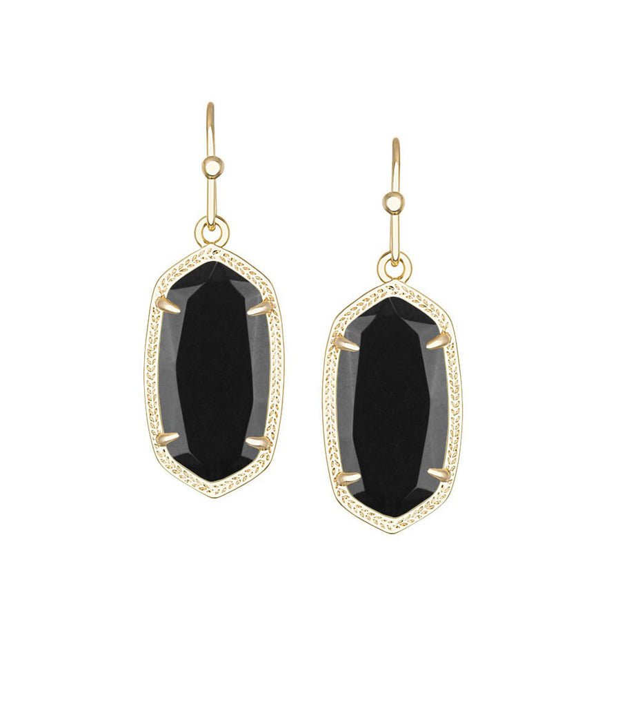 Kendra Scott Dani Black Opaque Glass Earrings Gold