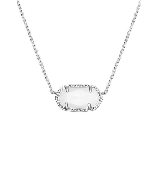 Kendra Scott Elisa Silver Pendant Necklace In White Mother
