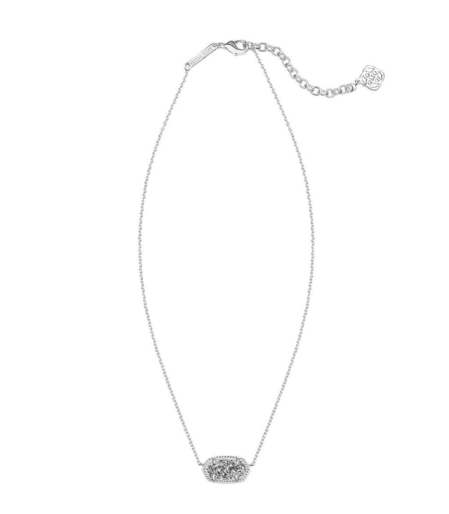 Kendra Scott Elisa Silver Pendant Necklace in Platinum Drusy 15 inch w/ 2 inch extender