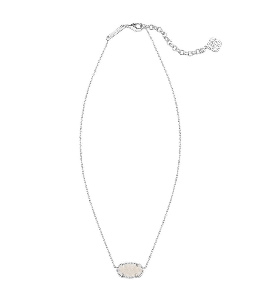 Kendra Scott Elisa Silver Pendant Necklace in Iridescent Drusy 15 inch w/ 2 inch extender