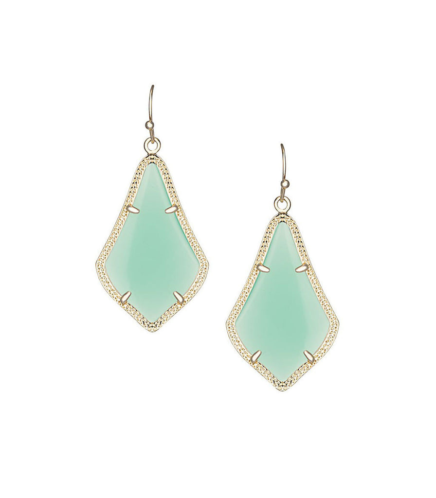 Kendra Scott Alex Chalcedony Mint Green Earrings 14K Gold Plated