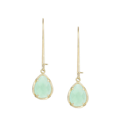 Kendra Scott Dee Chalcedony Mint Green Earrings 14K Gold Plated