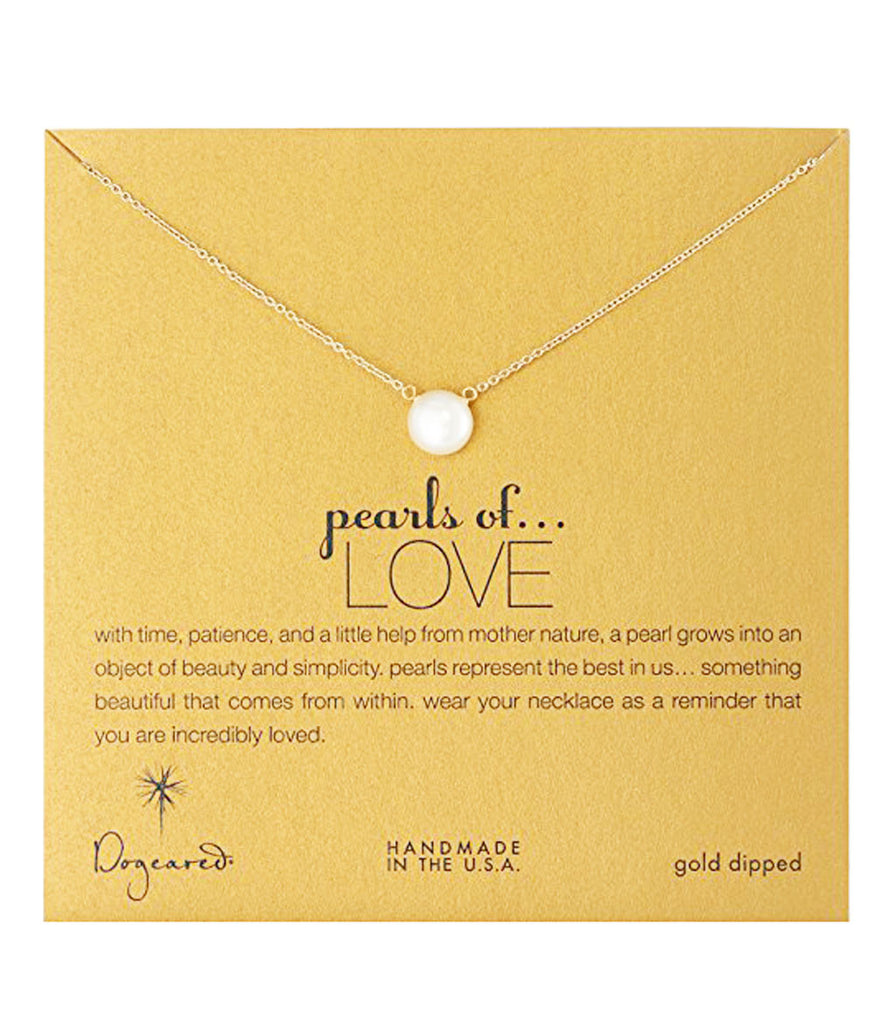 Dogeared Large Pearls of Love White Pearl Necklace, Gold Dipped 18 inch