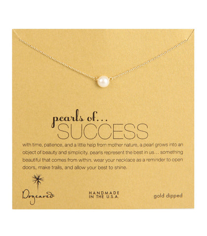 Dogeared, Pearls of Success White Pearl Necklace, Gold Dipped 16 inch