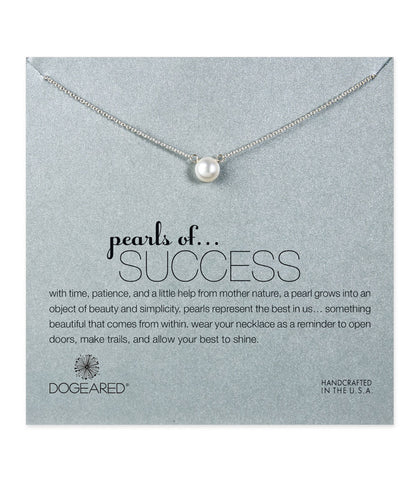 Dogeared, Pearls of Success White Pearl Necklace, Sterling Silver 16 inch
