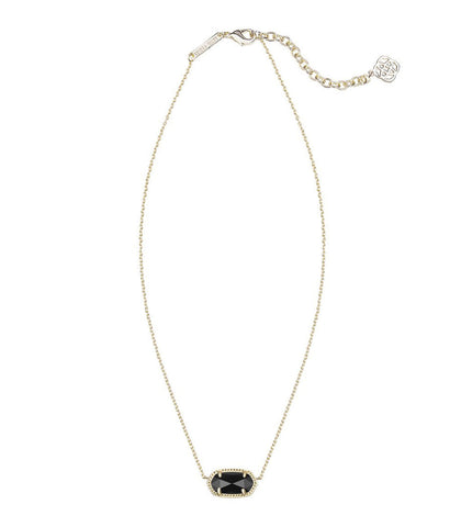Kendra Scott Elisa Gold Pendant Necklace in Black 15 inch w/ 2 inch extender