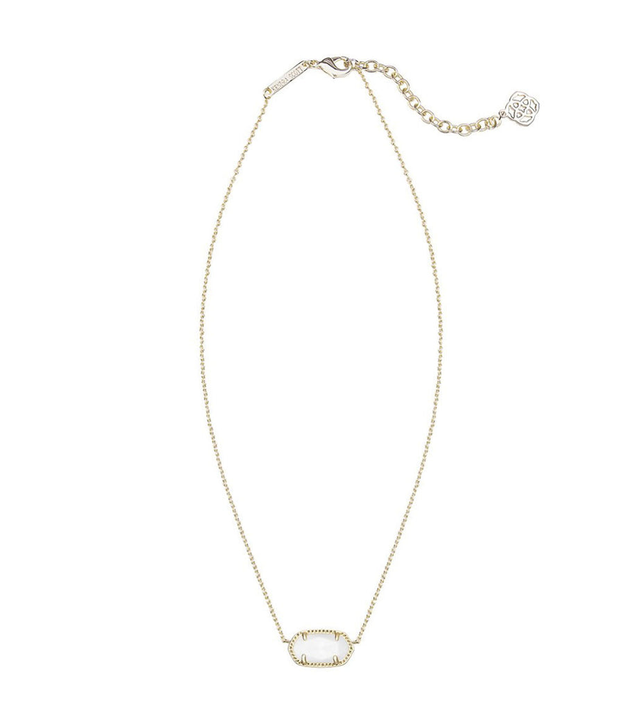 Kendra Scott Elisa Gold Pendant Necklace in White Mother of Pearl 15 inch w/ 2 inch extender