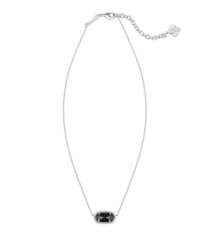 Kendra Scott Elisa Silver Pendant Necklace in Black 15 inch w/ 2 inch extender