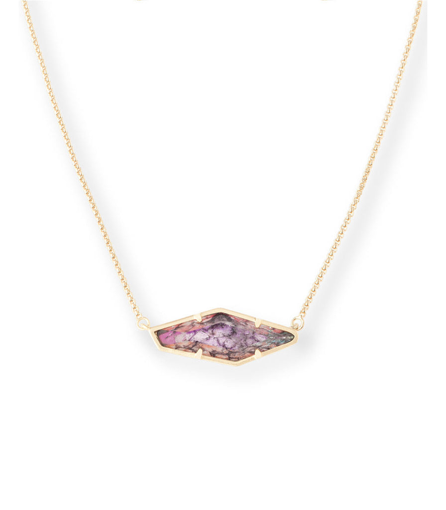 Kendra Scott Beth Pendant Necklace In Navy Crackle Illusion
