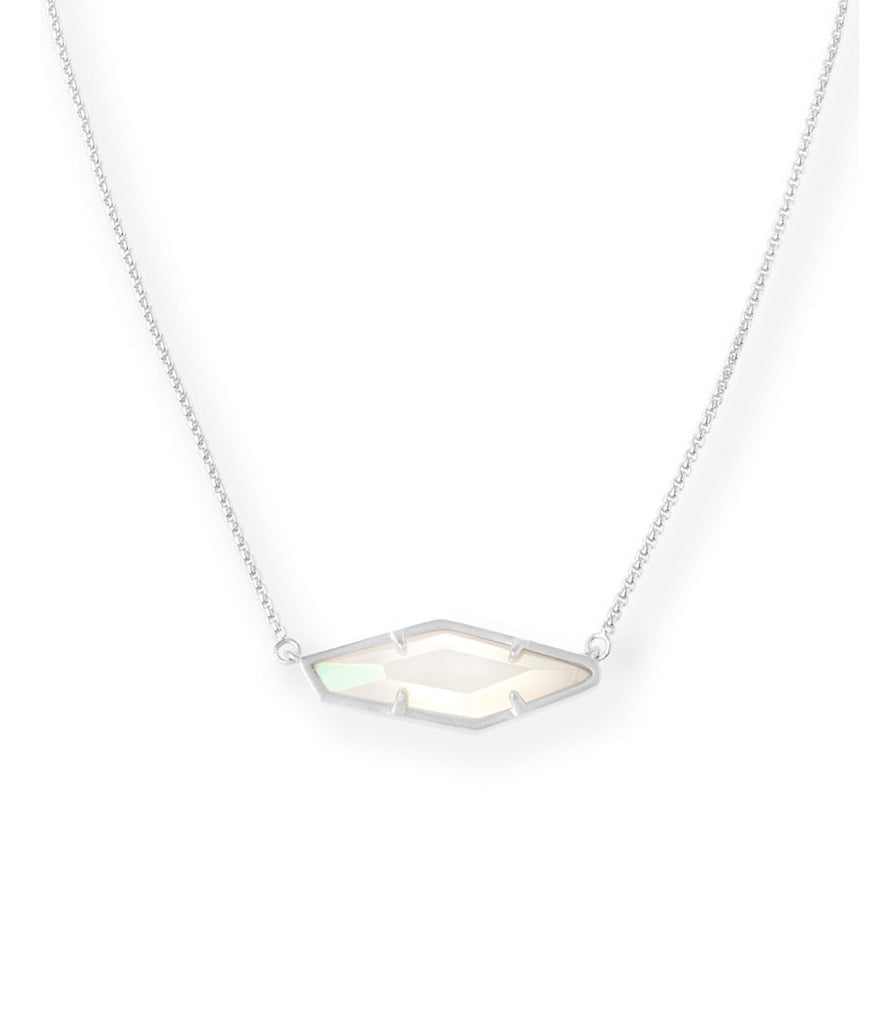 Kendra Scott Beth Pendant Necklace In Iridescent White Banded Agate