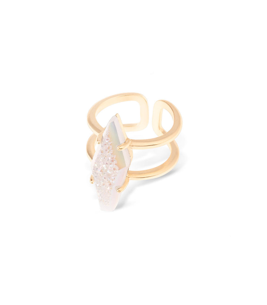 Kendra Scott Boyd Cocktail Ring In Iridescent Drusy Gold