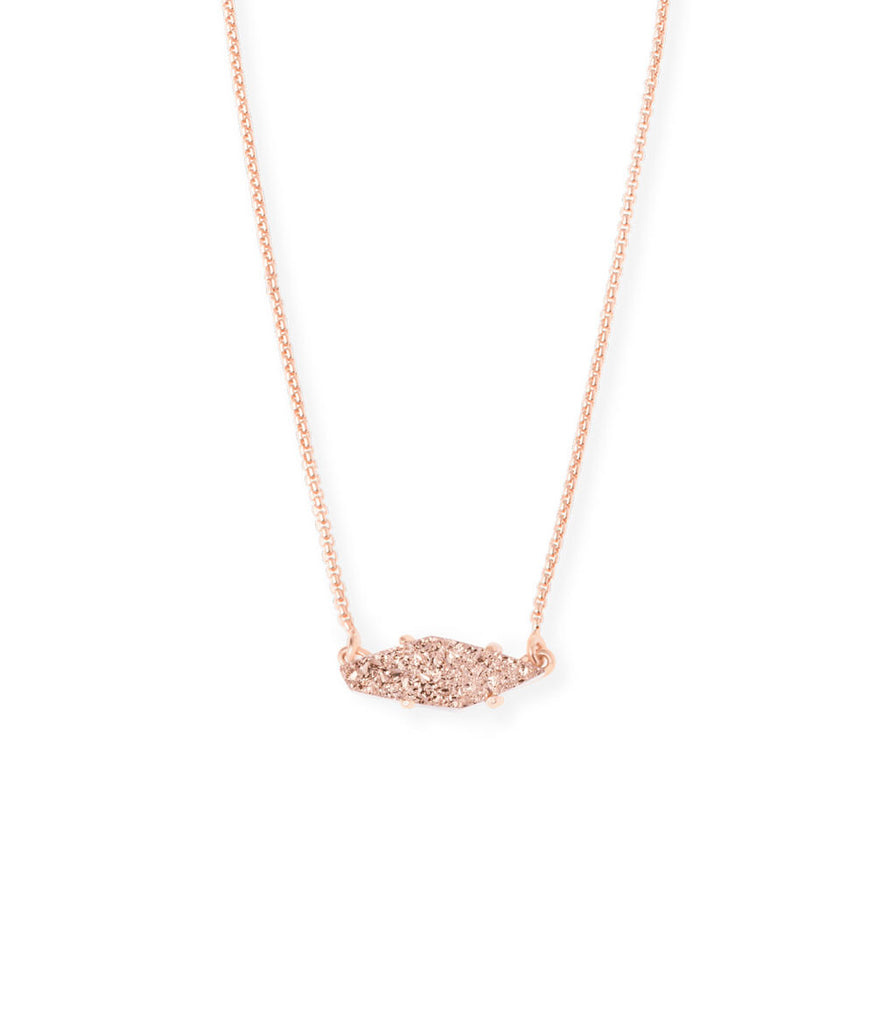 Kendra Scott Bridgete Pendant Necklace In Rose Gold Drusy
