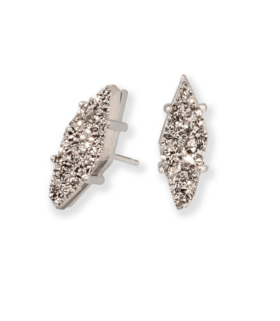 Kendra Scott Brook Stud Earrings In Platinum Drusy