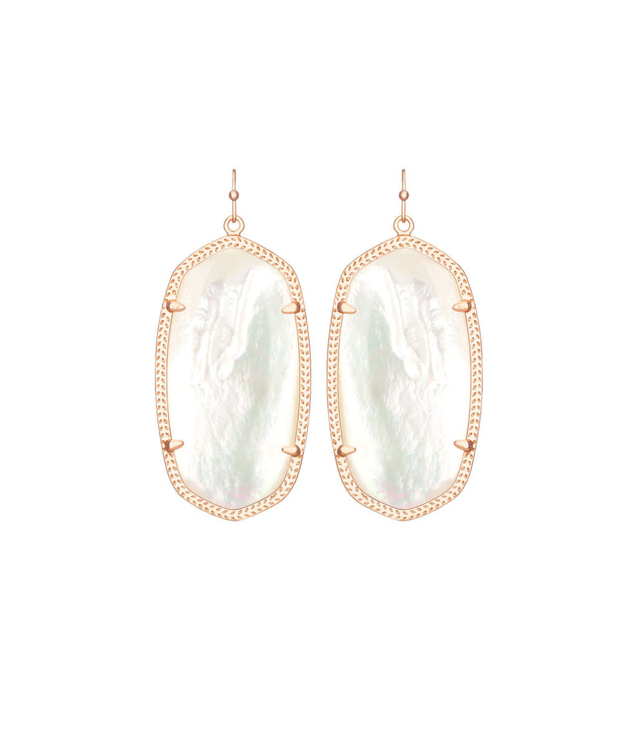 Kendra Scott Danielle Rose Gold Earrings In Ivory Pearl