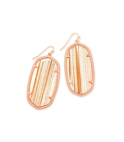 Kendra Scott Danielle Statement Earrings In Rose Gold Dusted Glass