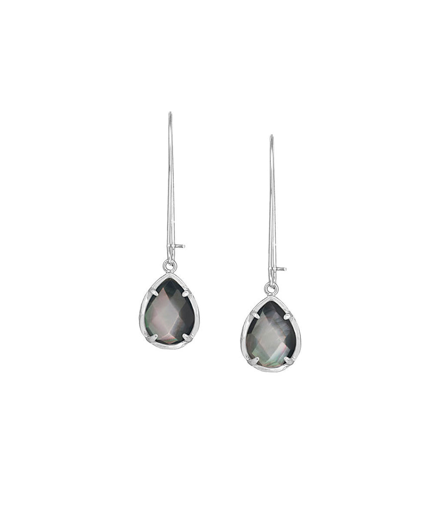 Kendra Scott Dee Black Mother of Pearl Earrings in Silver
