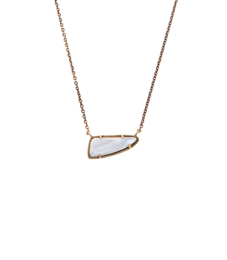 Kendra Scott Etta Pendant Necklace In White Banded Agate