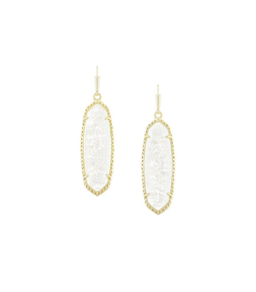 Kendra Scott Layla Gold Drop Earrings In Crushed Ivory Mother of Pearl Gold