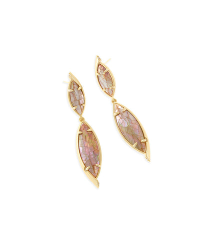 Kendra Scott Maisey Statement Earrings In Crackle Brown Pearl
