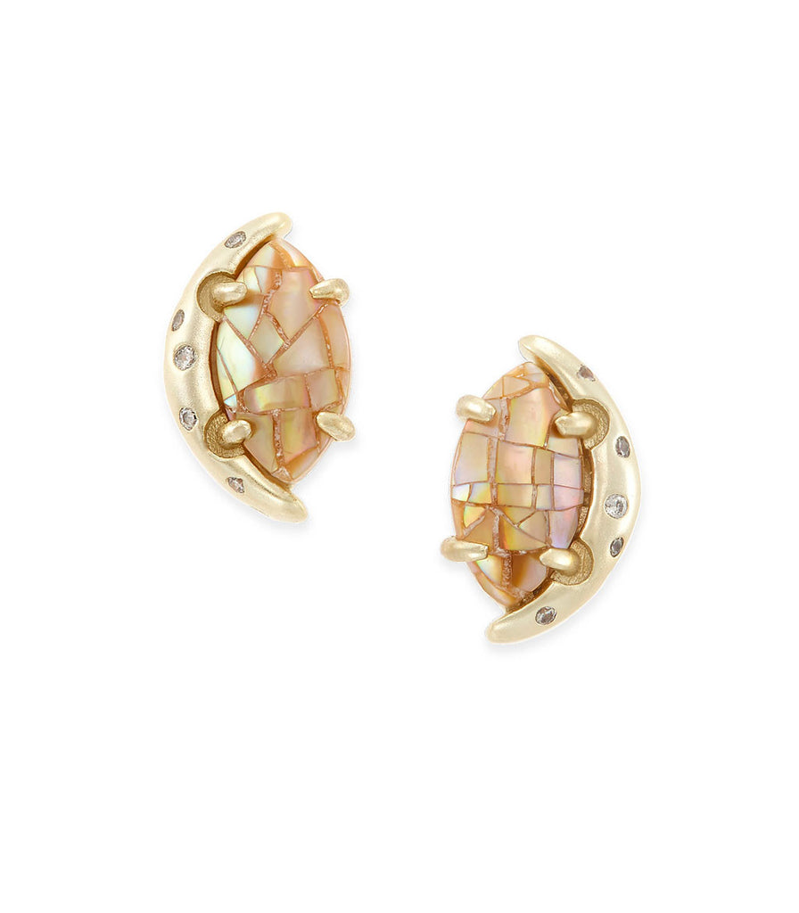 Kendra Scott Marie Stud Earrings In Crackle Brown Pearl