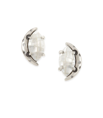 Kendra Scott Marie Stud Earrings In Crackle Ivory Pearl