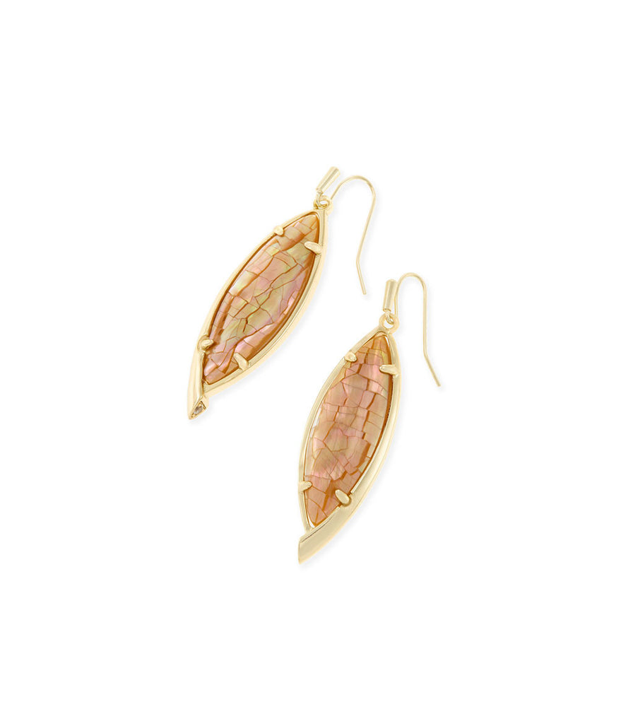 Kendra Scott Maxwell Drop Earrings In Crackle Brown Pearl
