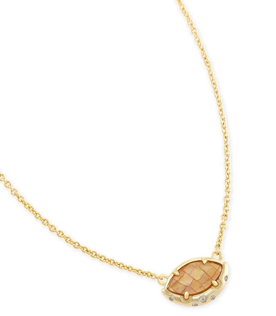 Kendra Scott Mikka Pendant Necklace In Crackle Brown Pearl