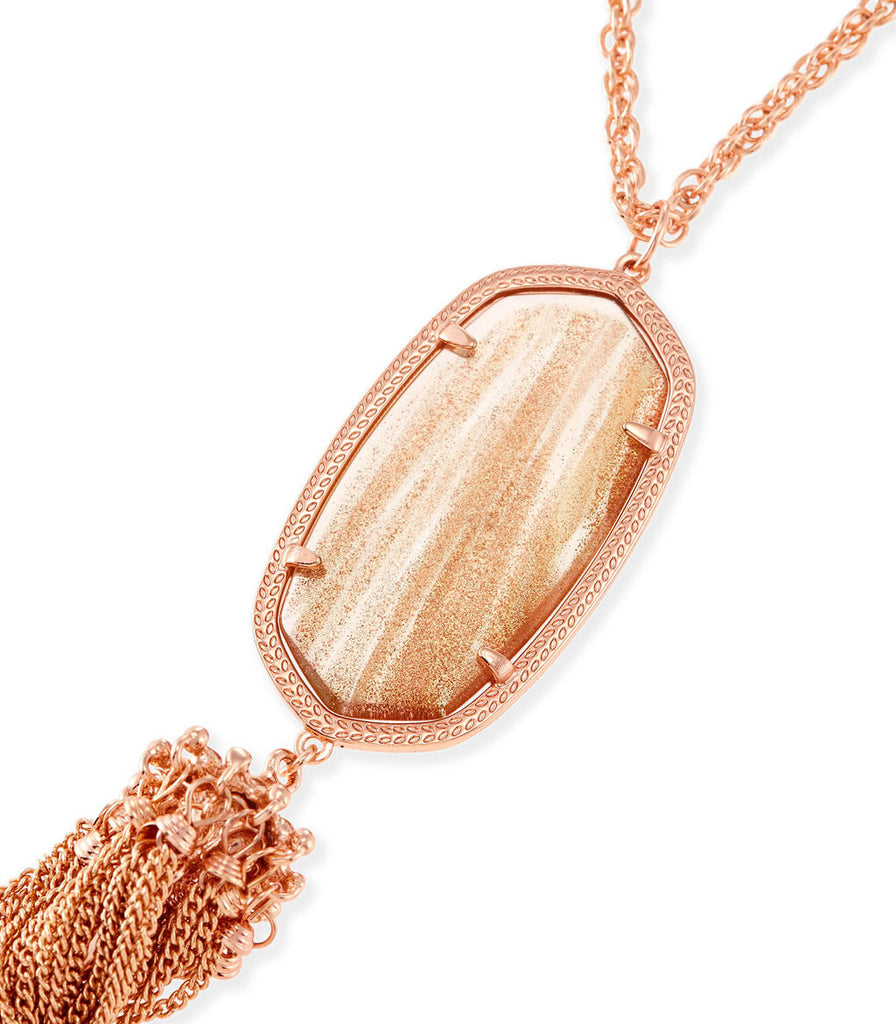 Kendra Scott Rayne Long Necklace In Gold Dusted Glass