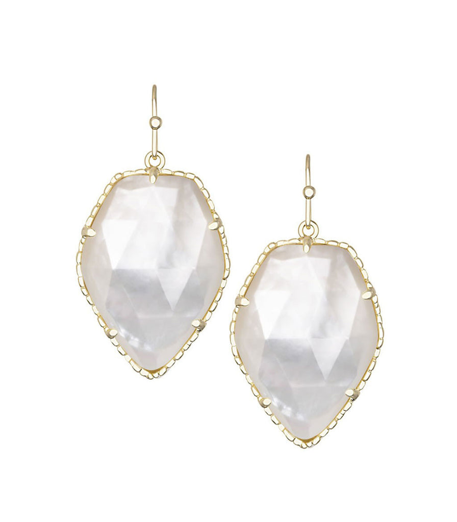 Kendra Scott Corley Ivory Mother of Pearl Earrings 14K Gold Plated