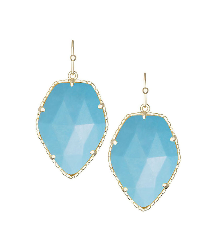 Kendra Scott Corley Turquoise Earrings 14K Gold Plated