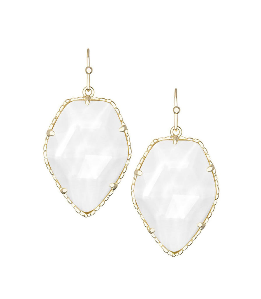 Kendra Scott Corley White Mother of Pearl Earrings 14K Gold Plated