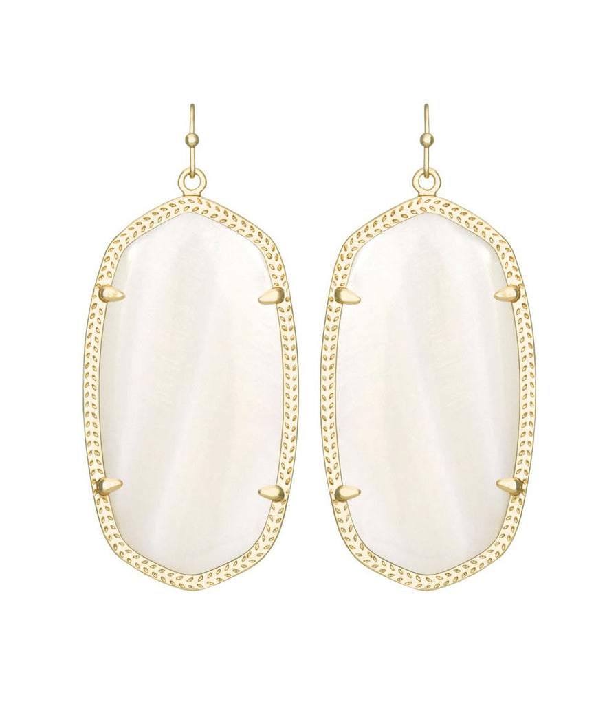 Kendra Scott Danielle White Mother of Pearl Earrings 14K Gold
