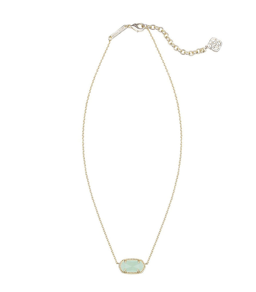 Kendra Scott Elisa Gold Pendant Necklace in Chalcedony Mint Green Glass 15 inch w/ 2 inch extender