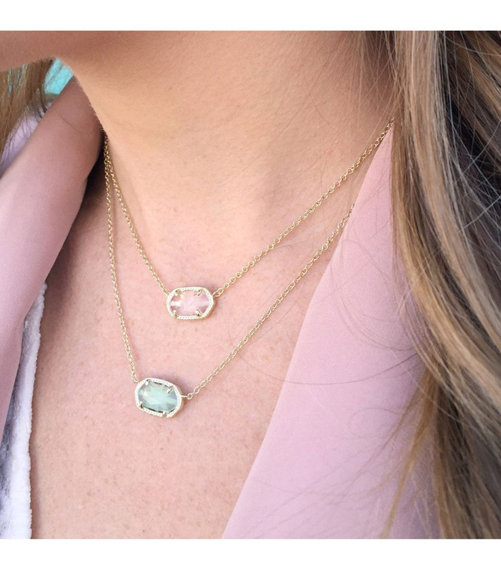 1455edab1cb3f Kendra Scott Elisa Gold Pendant Necklace in White Mother of Pearl 15 inch  w/ 2 inch extender