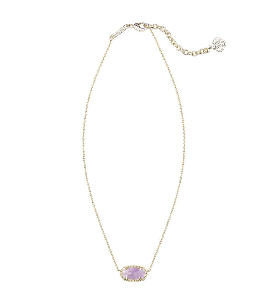 Kendra Scott Elisa Gold Pendant Necklace in Purple Amethyst 15 inch w/ 2 inch extender