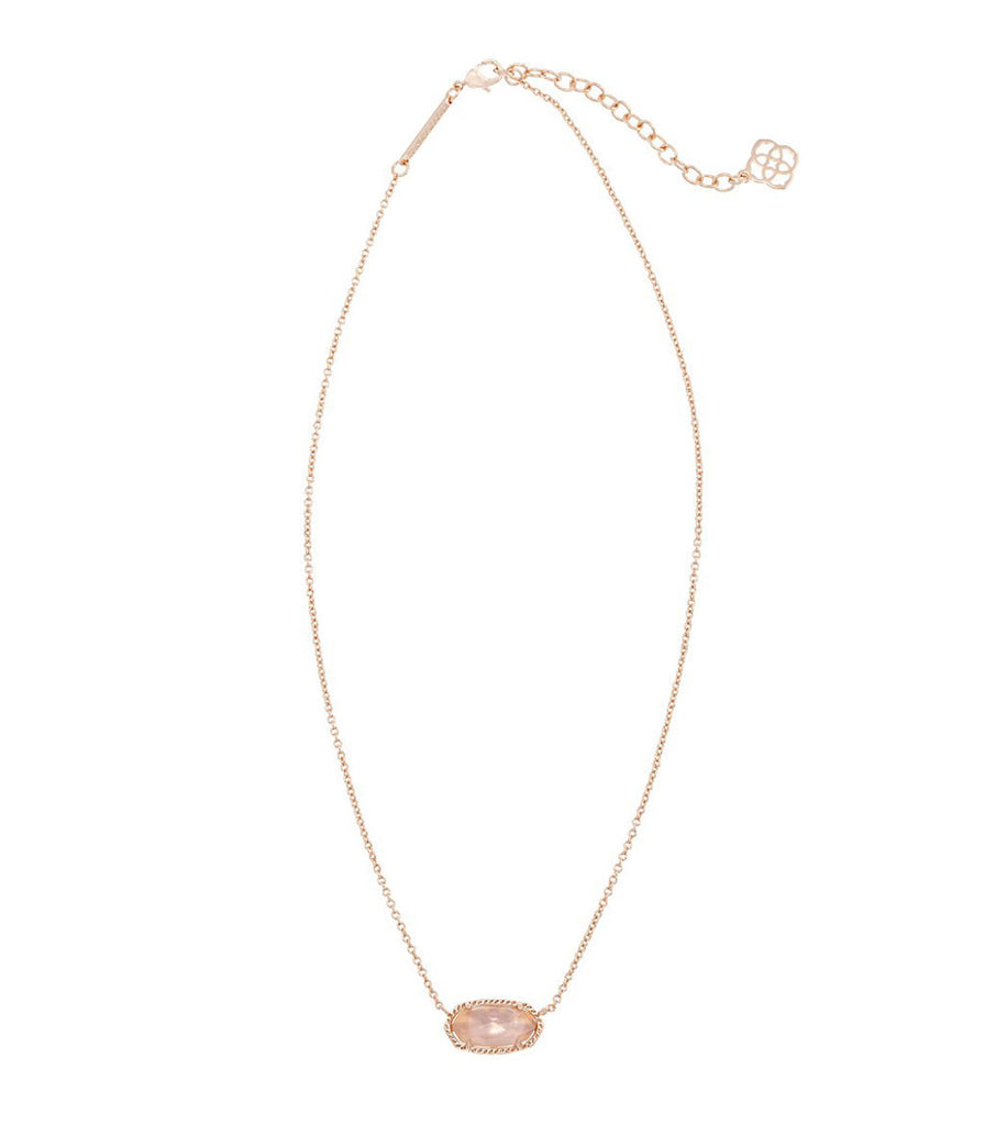 Kendra Scott Elisa Rose Gold Pendant Necklace in Peach Illusion 15 inch w/ 2 inch extender
