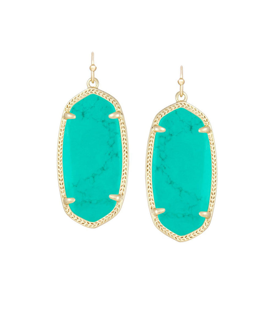 Kendra Scott Elle Teal Magnesite Earrings 14K Gold Plated